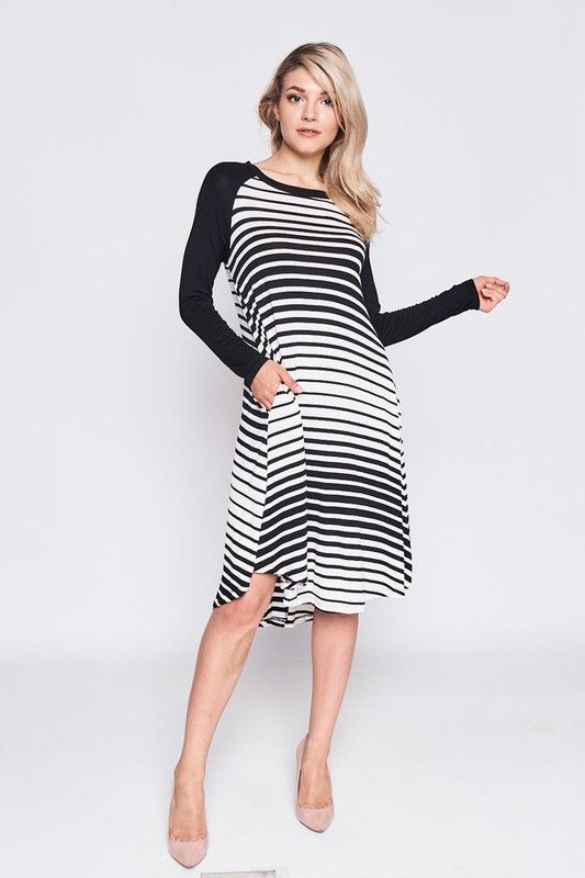 Stripe Raglan Flare Dress with Pockets