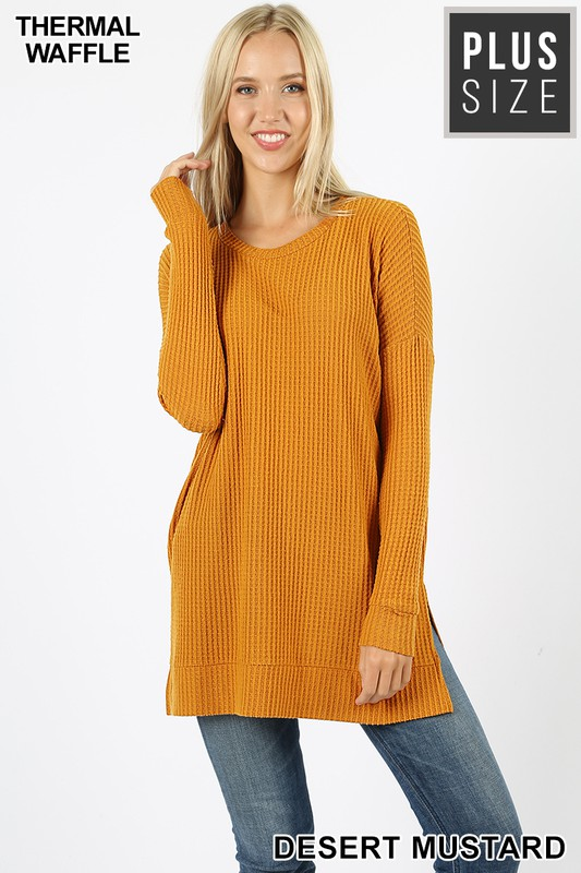 Thermal Waffle Tunic with Side Slits