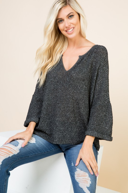 V-Neck Solid Long Sleeve Top