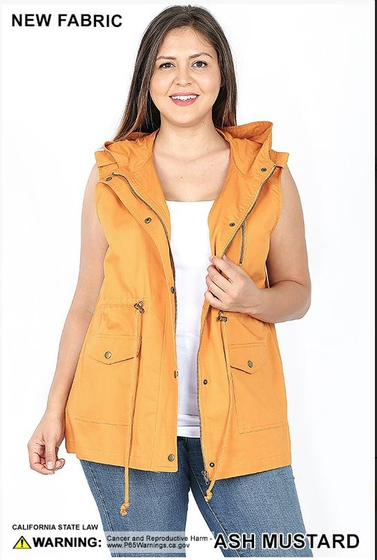 Hoodie Vest with Drawstrings