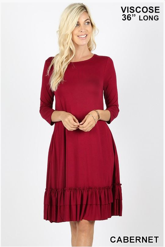 Round Neck Ruffle Hem Dress 3/4 Sleeve with Pockets