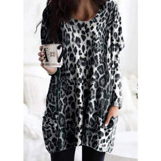 Jacqueline Grey Leopard Print Long Sleeve Casual Tunic