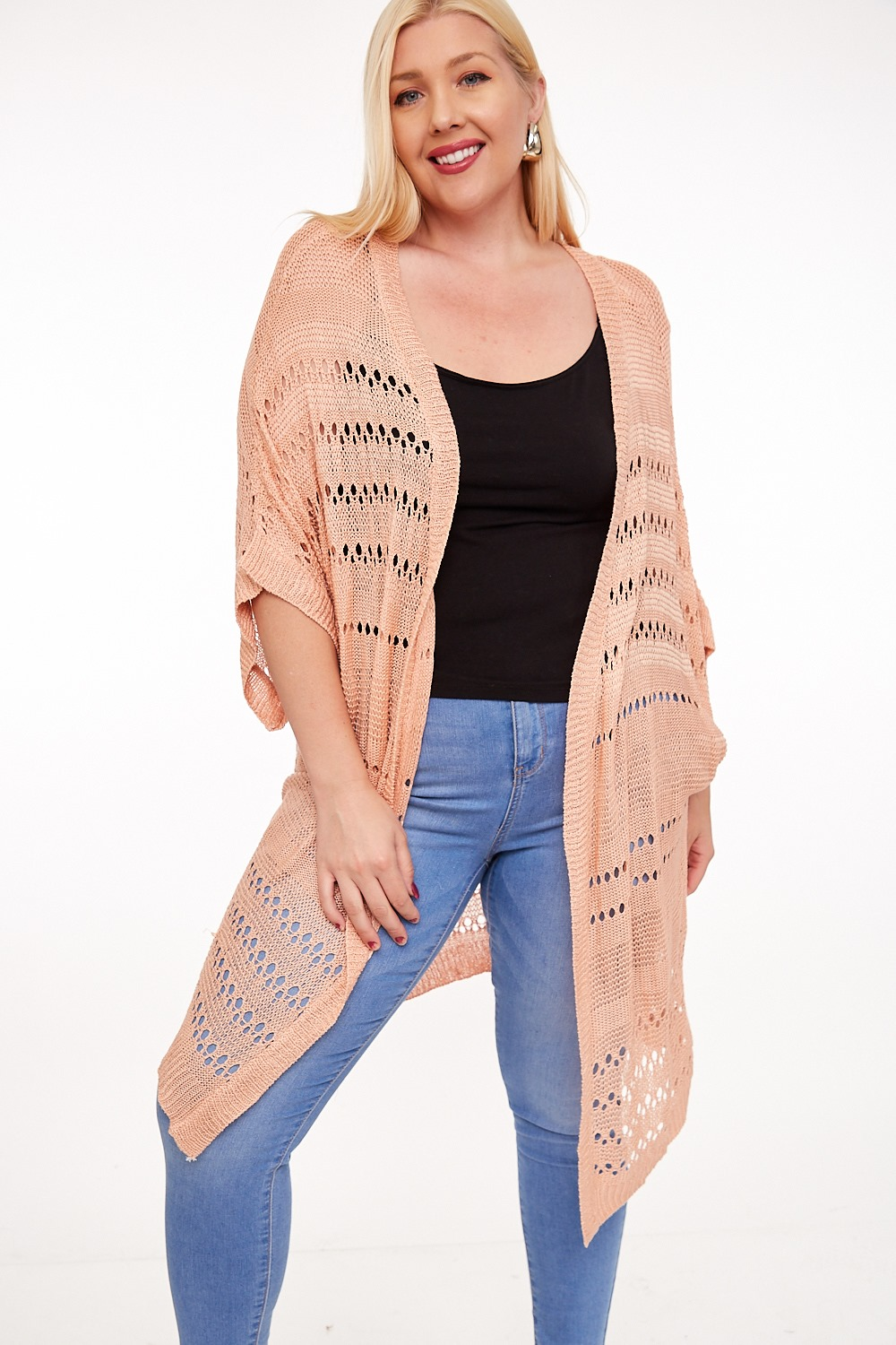 Lovely in Peach Open Cardigan