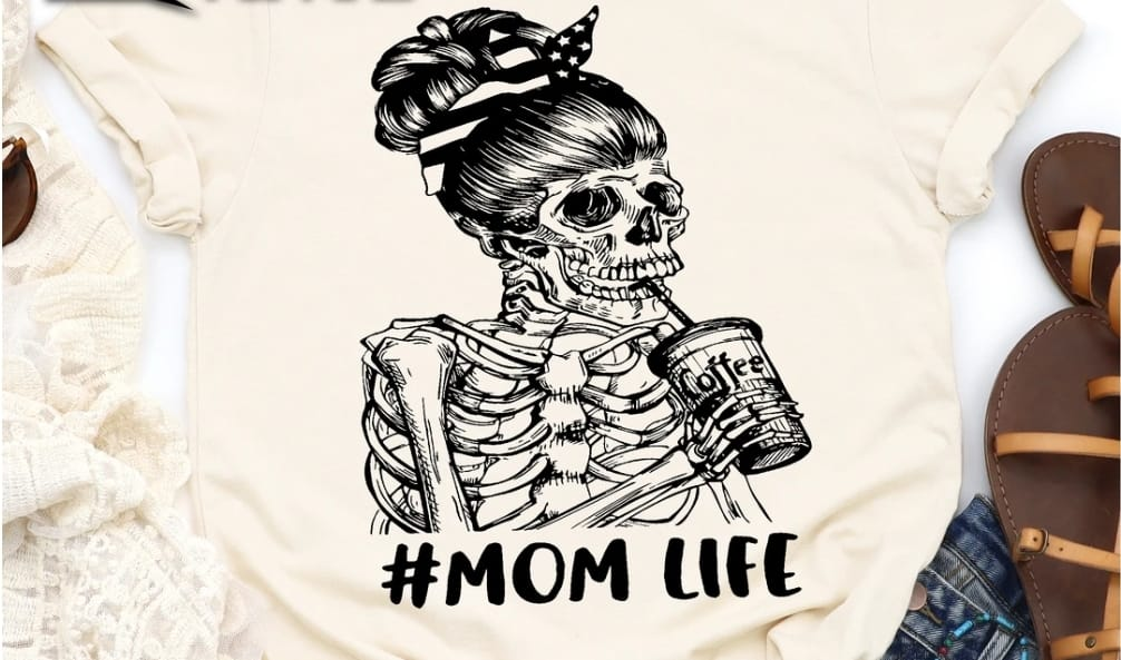 #Mom Life Skeleton Tee