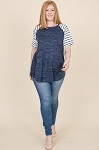 Heather Navy Stripes Top