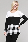 Buffalo Plaid Long Sleeve Color Block Top