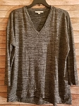 Heather Charcoal V-Neck Top