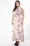 Sleeveless Pale Floral Maxi Dress