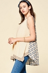 Sleeveless Plaid Back Knit Top