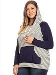All Stripes Navy Hoodie