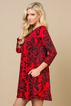 Red and Black Printed Longline Tunic with Pockets