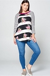 Floral Striped 3/4 Sleeve Top