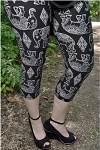 Black and White Elephant Capri Leggings