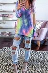 Essie Tie-Dye V Neck Long Sleeves Top