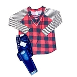 Buffalo Plaid and Stripes with Laces Top