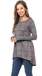 Hi-Low Plaid Tunic with Thumb Hole