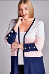 Navy Pink and White Color Block Cardigan