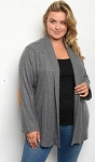 Waffle Cardigan with Elbow Patches