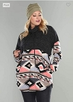 Navajo Cowl Neck Hoodie with Pockets