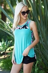 Lovely J Mint Floral Tank