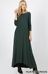 Shark Bite Hem 3/4 Sleeve Pocket Maxi Dress