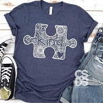 Be Kind Mandala Autism Puzzle Tee