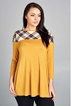 Mustard Plaid 3/4 Sleeve Top