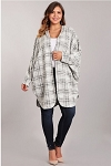 Comfy Cozy Sweater Cardi Plaid