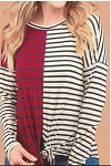 Ellie Burgundy Stripe Top