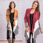 Color Block and Stripes Cardigan