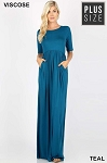 Mandy Maxi Dress with Half Sleeves and Pockets
