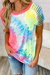 Lexie Ripped Raglan Sleeve Tie Dye T-Shirt
