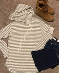 White and Gray Striped Hoodie