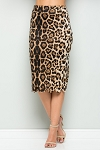 Scallop Hem Leopard Pencil Skirt