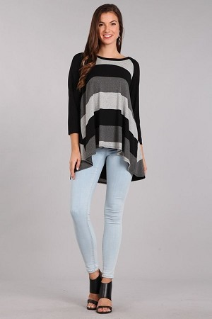 Stripe Knit Hi-Lo Tunic