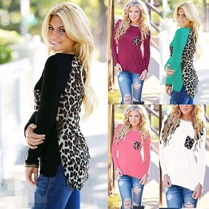 Long Sleeve Leopard Print Back Solid Front with Pocket