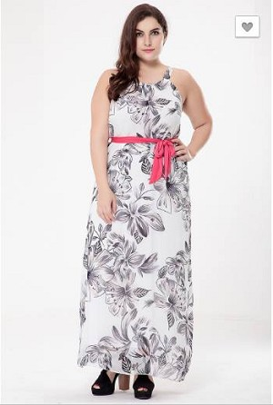 d7bc62f6d72 Sleeveless White Floral Maxi Dress